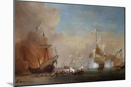 Pirates Attacking a British Navy Ship, 17th Century-Willem Van De Velde The Younger-Mounted Giclee Print
