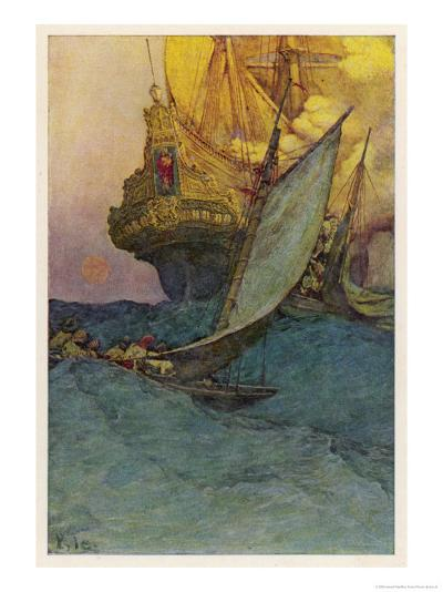 Pirates Attacking a Spanish Galleon in the West Indies-Howard Pyle-Giclee Print