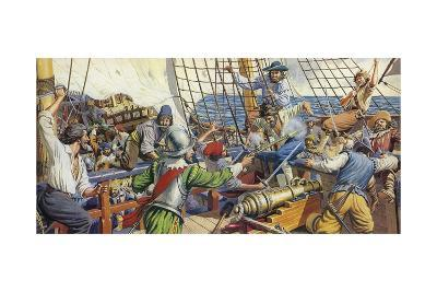 Pirates Attacking a Spanish Galleon-Mike White-Giclee Print
