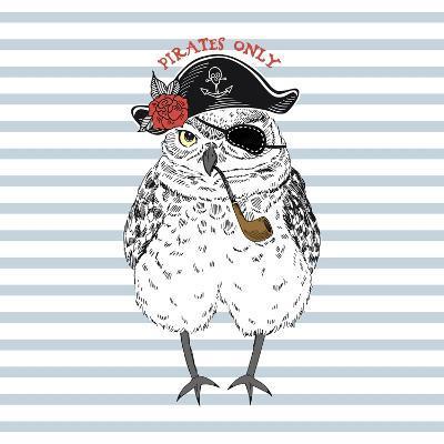 Pirates Only - Nautical Owl Illustration-Olga_Angelloz-Art Print
