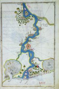 Ms W.658 Fol.304V Map of the Nile from the Kitab-I Bahriye by Piri Reis