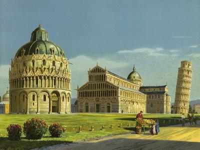 Pisa, Baptistry, Cathedral, Leaning Tower--Giclee Print