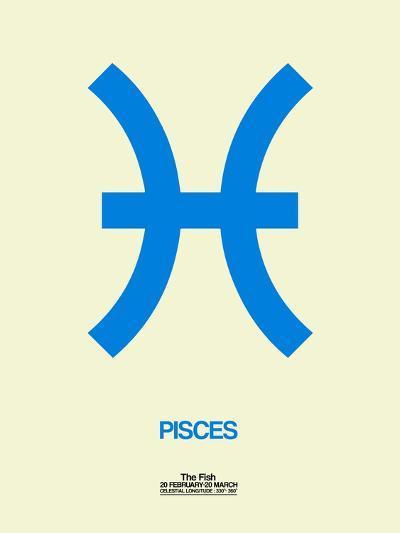Pisces Zodiac Sign Blue-NaxArt-Art Print