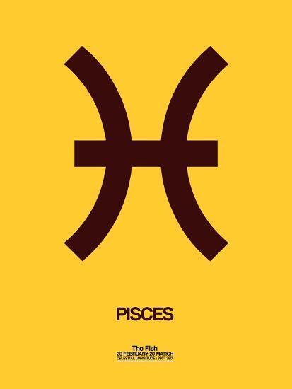 Pisces Zodiac Sign Brown-NaxArt-Art Print