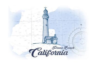 Pismo Beach, California - Lighthouse - Blue - Coastal Icon-Lantern Press-Art Print