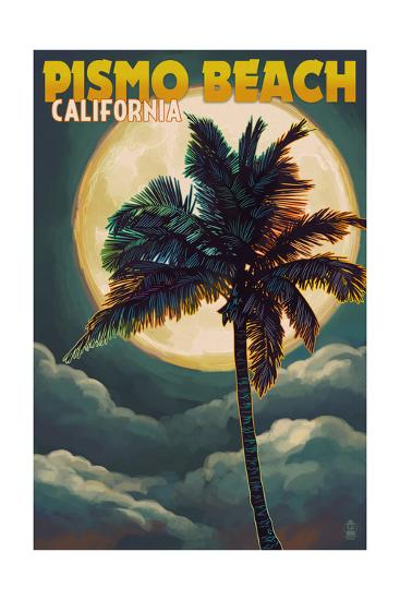 Pismo Beach, California - Palm and Moon-Lantern Press-Art Print