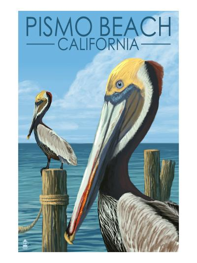 Pismo Beach, California - Pelicans-Lantern Press-Art Print