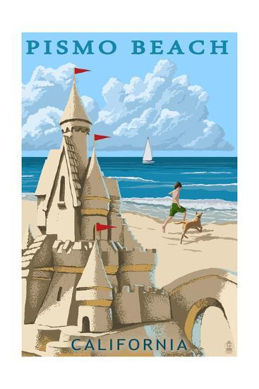 Pismo Beach, California - Sandcastle-Lantern Press-Art Print