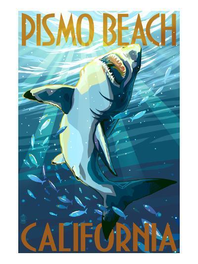 Pismo Beach, California - Stylized Sharks-Lantern Press-Art Print