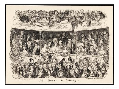 """""""Pit Boxes and Gallery"""" in a London Theatre-George Cruikshank-Giclee Print"""