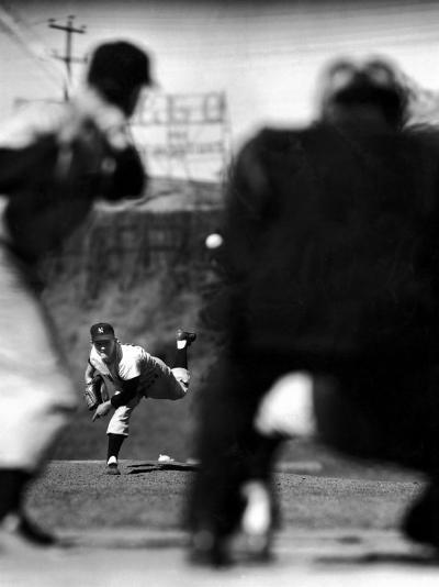 Pitcher Whitey Ford Firing a Fast Ball to Player Batting-Mark Kauffman-Premium Photographic Print