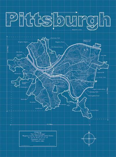 Pittsburgh Artistic Blueprint Map-Christopher Estes-Art Print