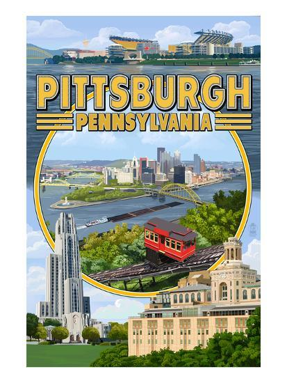Pittsburgh, Pennsylvania - Montage Scenes-Lantern Press-Art Print