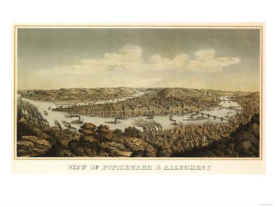 Pittsburgh, Pennsylvania - Panoramic Map-Lantern Press-Art Print