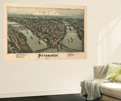 Pittsburgh, Pennsylvania - Panoramic Map-Lantern Press-Wall Mural