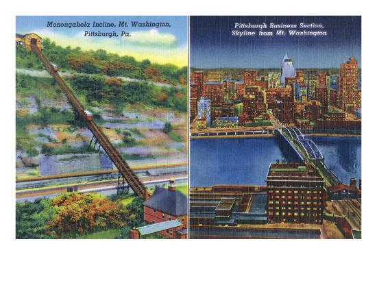 Pittsburgh, Pennsylvania - View of Monongahela Incline on Mt. Washington-Lantern Press-Art Print