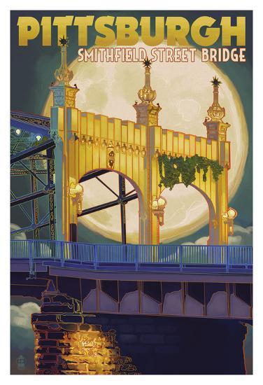 Pittsburgh - Smithfield Street Bridge-Lantern Press-Art Print