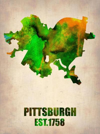 Pittsburgh Watercolor Map-NaxArt-Art Print