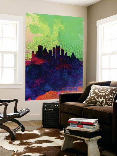 Pittsburgh Watercolor Skyline-NaxArt-Wall Mural