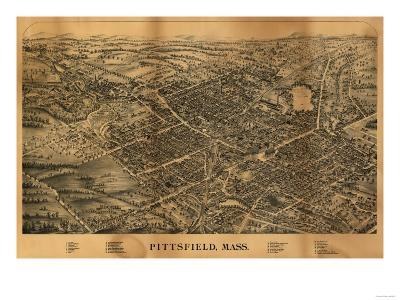 Pittsfield, Massachusetts - Panoramic Map-Lantern Press-Art Print