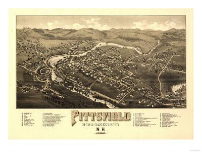 Pittsfield, New Hampshire - Panoramic Map-Lantern Press-Art Print