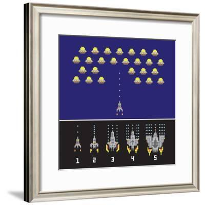Pixel Art Style Space War and Spaceship Game Upgrades Vector Set-dmitriylo-Framed Premium Giclee Print