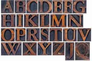 Complete English Alphabet in Vintage Wood Type by PixelsAway