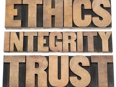 Ethics, Integrity, Trust Word