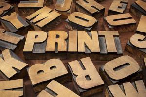 Print Concept in Vintage Letterpress Wood Printing Blocks by PixelsAway