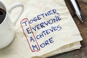 TEAM Acronym (Together Everyone Achieves More), Teamwork Motivation Concept - a Napkin Doodle by PixelsAway