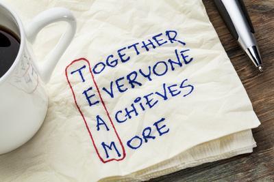 TEAM Acronym (Together Everyone Achieves More), Teamwork Motivation Concept - a Napkin Doodle