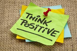 Think Positive - Motivational Reminder - Handwriting on Sticky Note by PixelsAway