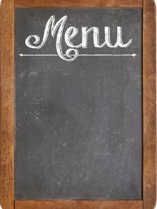 Vintage Slate Blackboard in Wood Frame with White Chalk Smudges Used a Restaurant Menu by PixelsAway