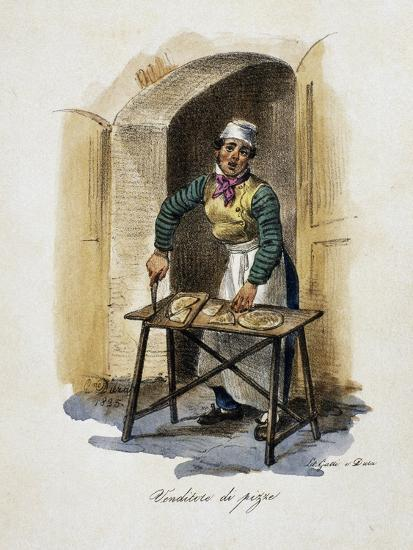 Pizza Seller, 1825, by Gaetano Dura (1805-1878), Lithograph, Italy, 19th Century--Giclee Print