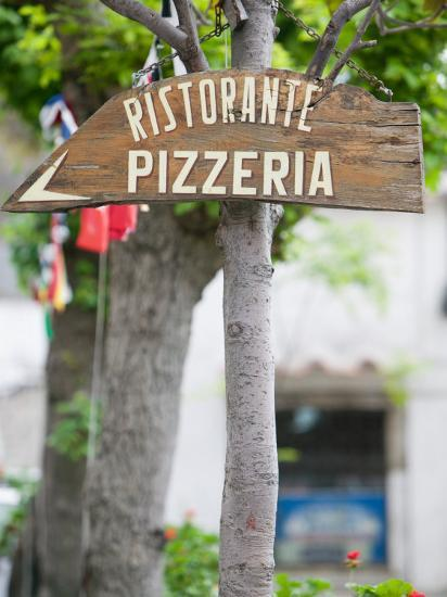 Pizzeria Sign, Positano, Amalfi Coast, Campania, Italy-Walter Bibikow-Photographic Print
