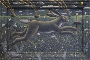 Leaping Hare  2020  (tinted gesso on wood) by PJ Crook