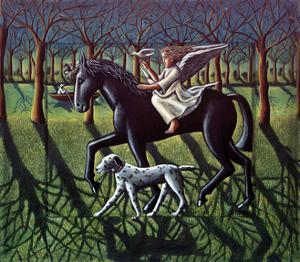 THE ANGEL. HORSE, DOG & DOVE by PJ Crook