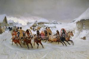 Mit den Troikas zum Faschingsvergnügen. 1889 by Pjotr Nikolajew Grusinskij