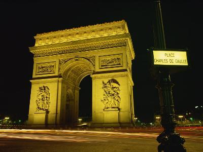 Place Charles De Gaulle Street Sign and the Arc De Triomphe Illuminated at Night, Paris, France-Rainford Roy-Photographic Print