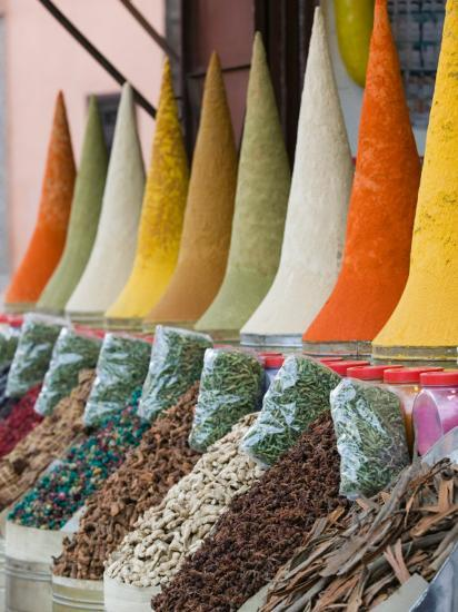 Place Des Ferblatiers, Mountains of Moroccan Spices Souk, Marrakech, Morocco-Walter Bibikow-Photographic Print