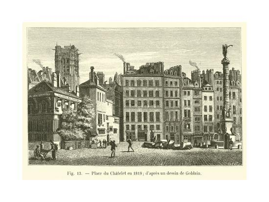 Place Du Chatelet En 1818, D'Apres Un Dessin De Goblain--Giclee Print