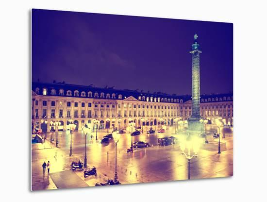 Place Vendome by Night - Paris - France-Philippe Hugonnard-Metal Print
