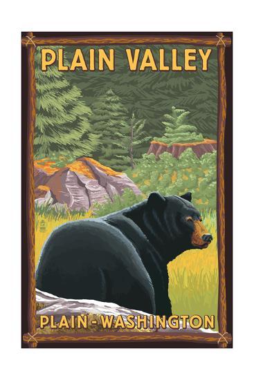 Plain, Washington - Black Bear in Forest-Lantern Press-Art Print