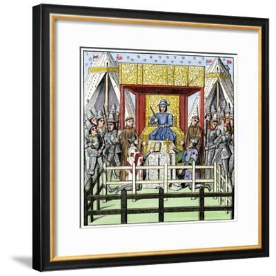 Plaintiff and Defendant Take the Oath before a Judge in the 1400s--Framed Giclee Print