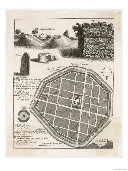 Plan and Details from the Well-Preserved Roman Town of Silchester--Giclee Print