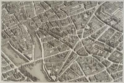 Plan de Paris (1734-1739) dit plan de Turgot, La Seine, le Pont-Neuf, l'île de la Cité, Notre-Dame--Giclee Print
