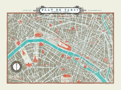 Plan de Paris Map--Art Print