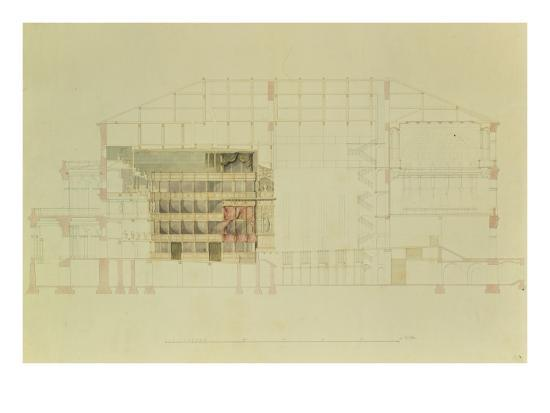 Plan for the Dresden Royal Theatre, C.1838-Gottfried Semper-Giclee Print
