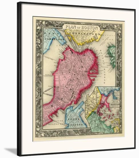 Plan of Boston, c.1860-Samuel Augustus Mitchell-Framed Art Print