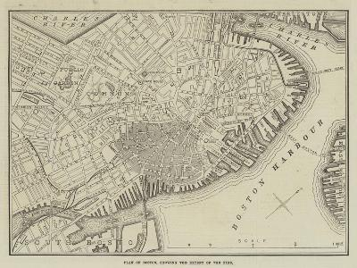 Plan of Boston, Showing the Extent of the Fire--Giclee Print